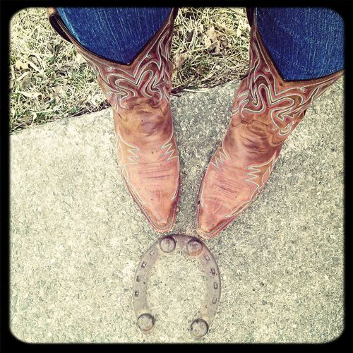 horseshoe on my walkway. Country Hello World Boots Cowgirl Up