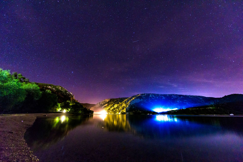 Astronomy Beauty In Nature Blue Constellation Dark Idyllic Illuminated Infinity Landscape Long Exposure Majestic Nature Night No People Outdoors Reflection Scenics Skradin Sky Space Star The Great Outdoors - 2016 EyeEm Awards Tranquil Scene Water