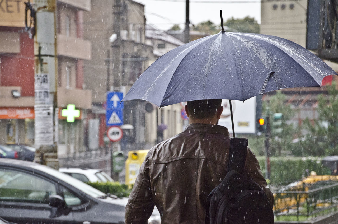 Rain City One Man Only One Person Rain RainDrop Rainfall Real People Rear View Street Umbrella Wet