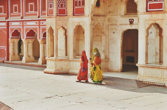 "From my 2-month trip ""Through India"" India Travel Travelphotography Indianphotography Indianpictures throughindia.wordpress.com Minolta Dynax 505si Analogue Photography Sari Feel The Journey Colorful Life Wemon Architecture Red Wall"