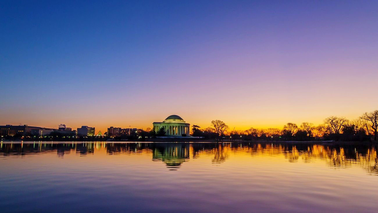 First Light On New Year's Day Water Reflection Sunrise Jefferson Memorial Tidal Basin Morning Dawn Washington DC