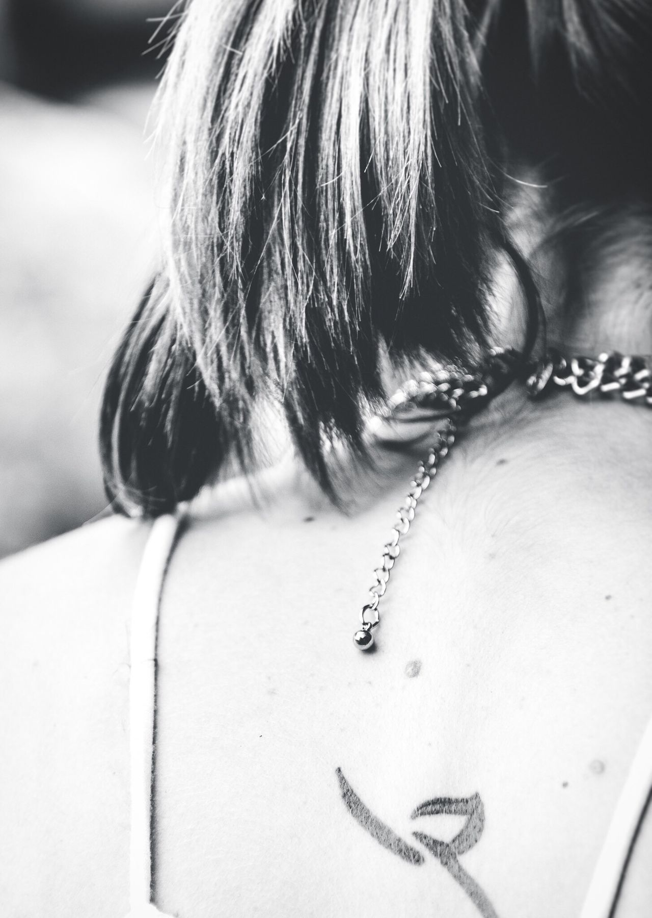 Necklace One Person Real People Close-up Chain Headshot Indoors  Childhood Human Body Part Day Locket People Blackandwhite Black & White Black And White Tattoo