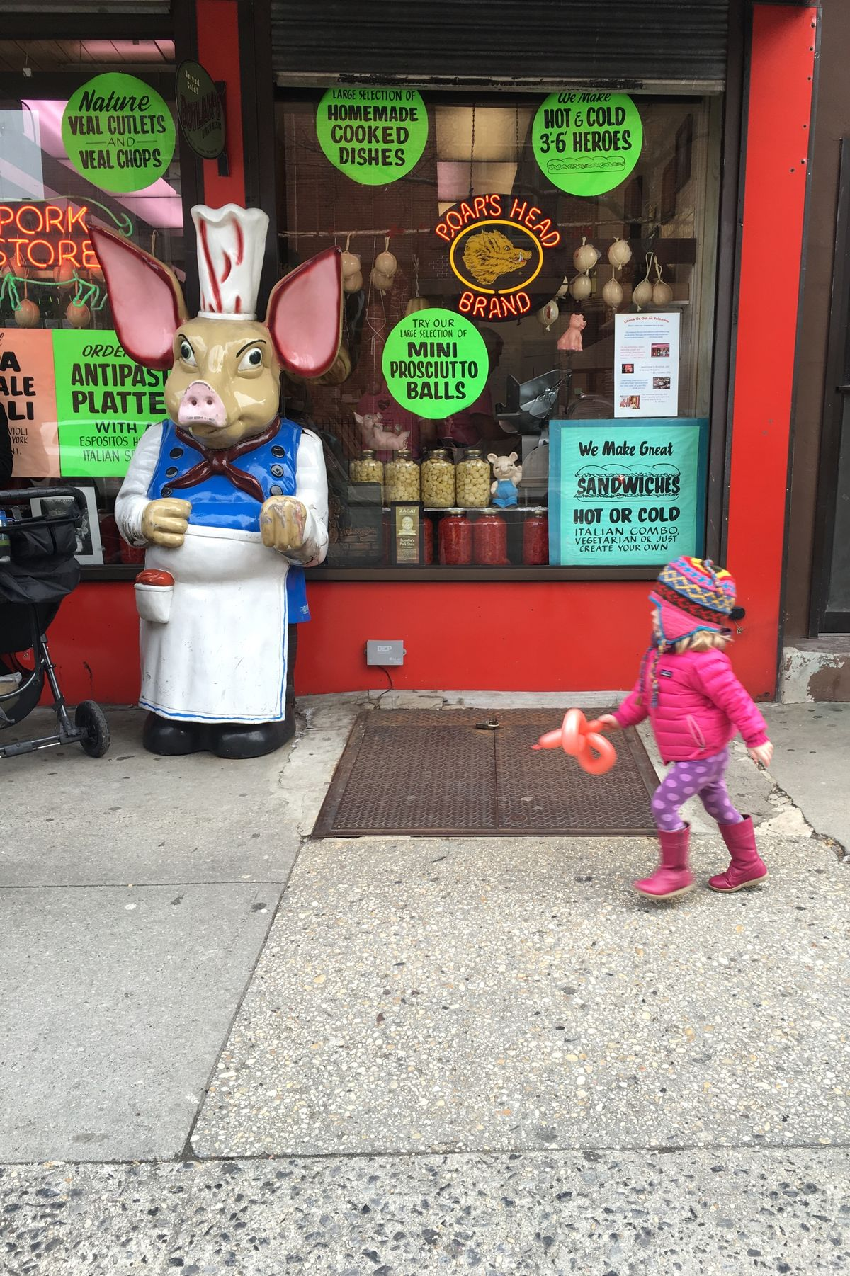 Brooklyn Butcher Child Child Walking For Sale Storefront View From Street Writing In Window