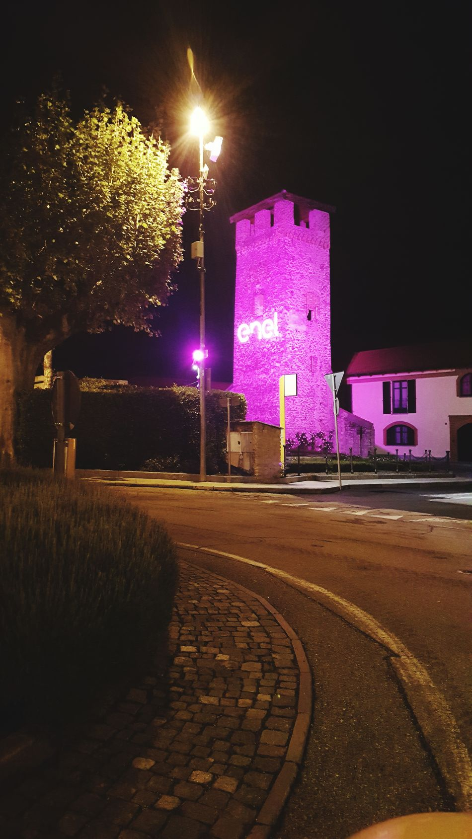 Waiting for the Giroditalia2016Taking Photos Promoter Enel Pink Light Old Tower Square Countryside