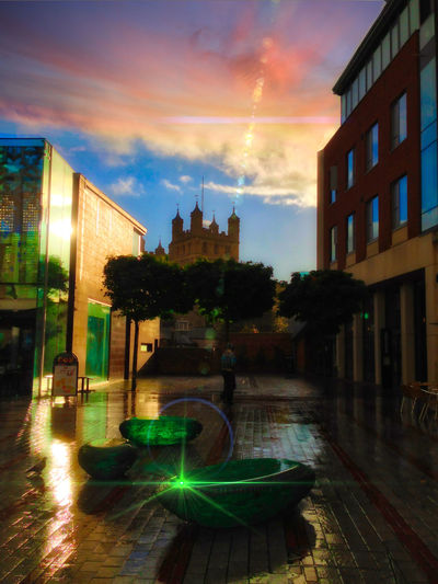 Architecture Bridge - Man Made Structure Building Exterior Built Structure City Cityscape Cloud - Sky Exeter Uk History Illuminated No People Outdoors Place Of Worship Reflection Sky Sunset The City Light Tower Travel Destinations Tree Water