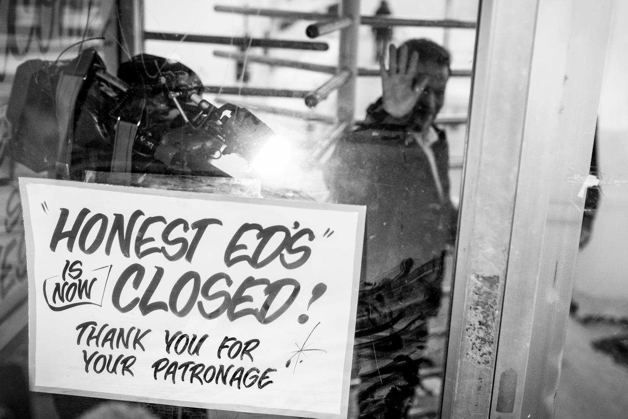 Goodbye, Honest Ed's Canada Final Moments Goodbye Honest Ed's Last Day Of Honest Ed's Toronto Welcome To Yesterday Urban Exploration People And Places Downtown Toronto The Changing City Blackandwhite Monochrome EyeEm Best Shots - Black + White Black And White Photojournalism