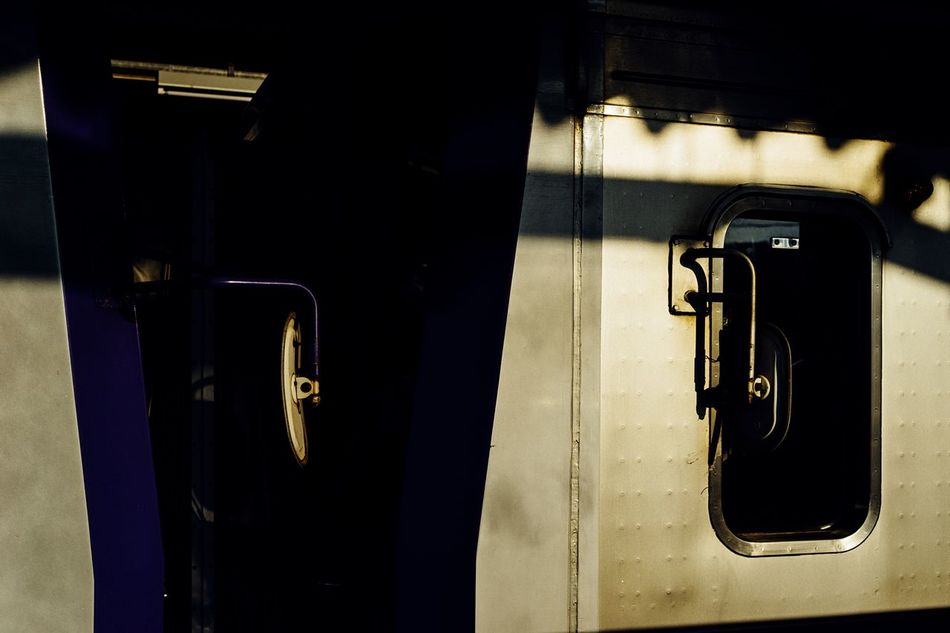Reflections Evening Light Summer ☀ Steel Train Mode Of Transport Travel Light And Shadow Travel Capture The Moment August 2016 Evening Time Station EyeEm Gallery Japan Local Train Mirror Summer Light Good Bye Summer Local Transportation Steel Structure  Reflection