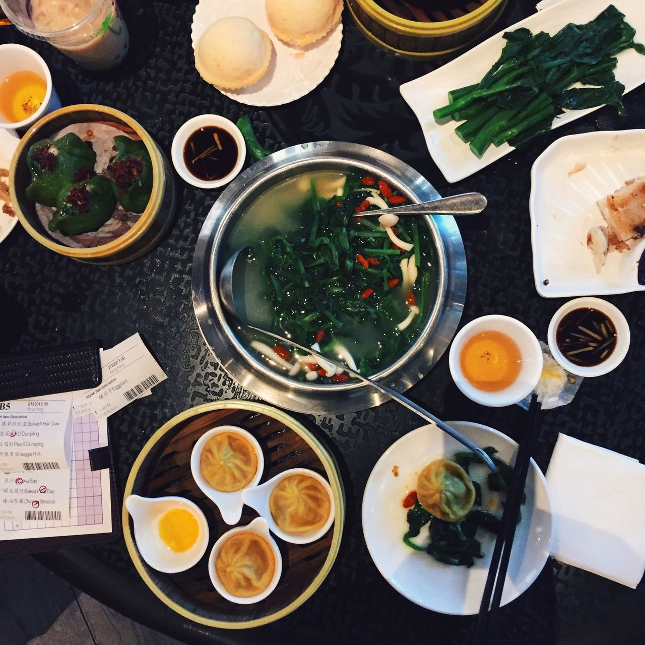 Dim Sum table at restaurant in San Francisco, USA. Breakfast California Dim Sum Dim Sum Lunch Dishes Drink Food Food And Drink Indoors  IPhone IPhoneography No People Ready-to-eat San Francisco Square Sweet Food USA View From Above