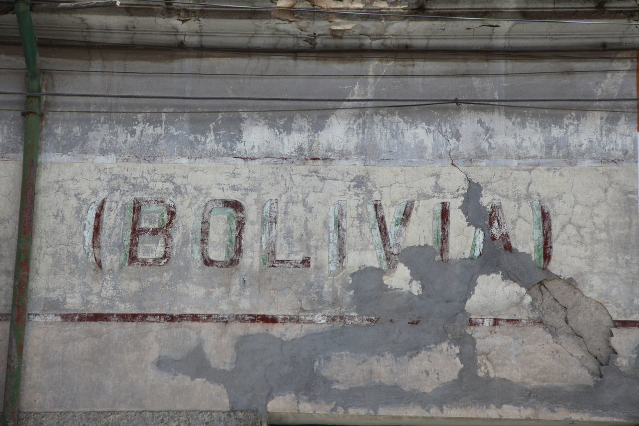 Bolivia Engraved On Weathered Wall