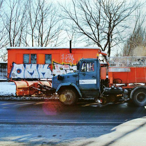 буржуйка под забором шарящия Машина снег❄ уборочная зима Киев OpenEdit Open Edit