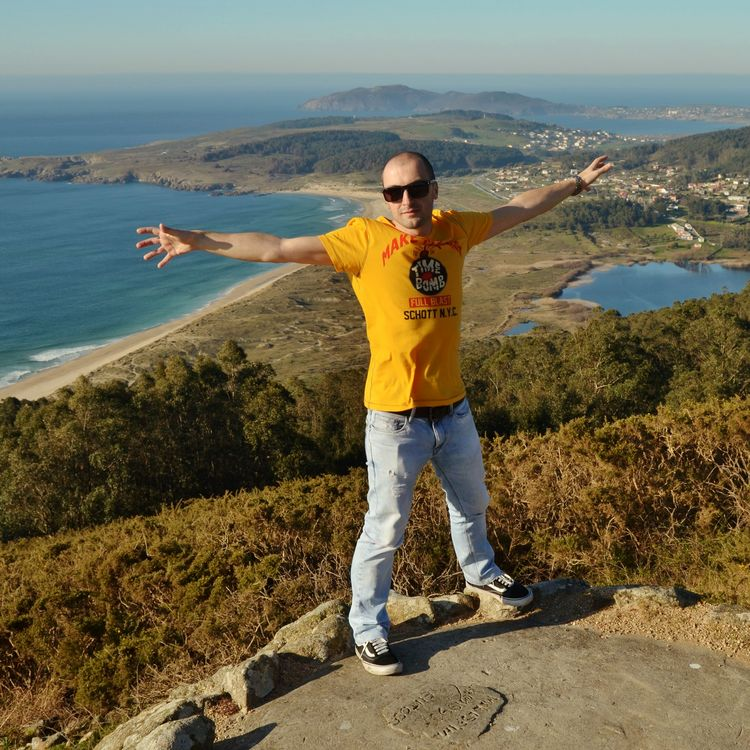 Person Young Adult Casual Clothing Vacations Outdoors Landscape Water In Front Of High Angle View Cost People And Places Lifestyles Sea Monteventoso, Ferrol, Galicia SPAIN Be. Ready.