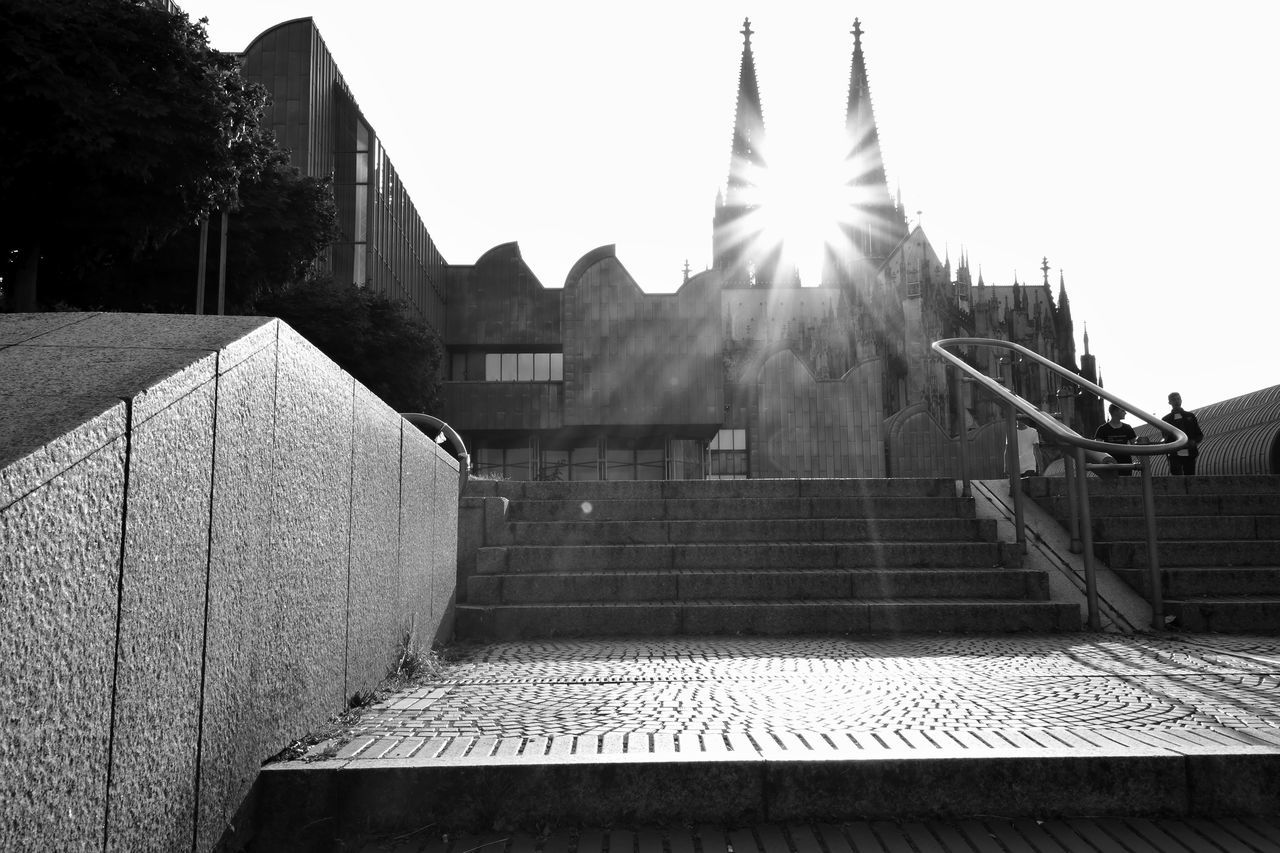 Architecture Black & White Black And White Black And White Photography Building Exterior Built Structure Cologne Cologne Cathedral Concert Hall  Culture And Tradition Köln Köln, Germany Kölner Dom Place Of Worship Religious Architecture Steps Steps And Staircases Sun Glare The City Light Travel Destinations