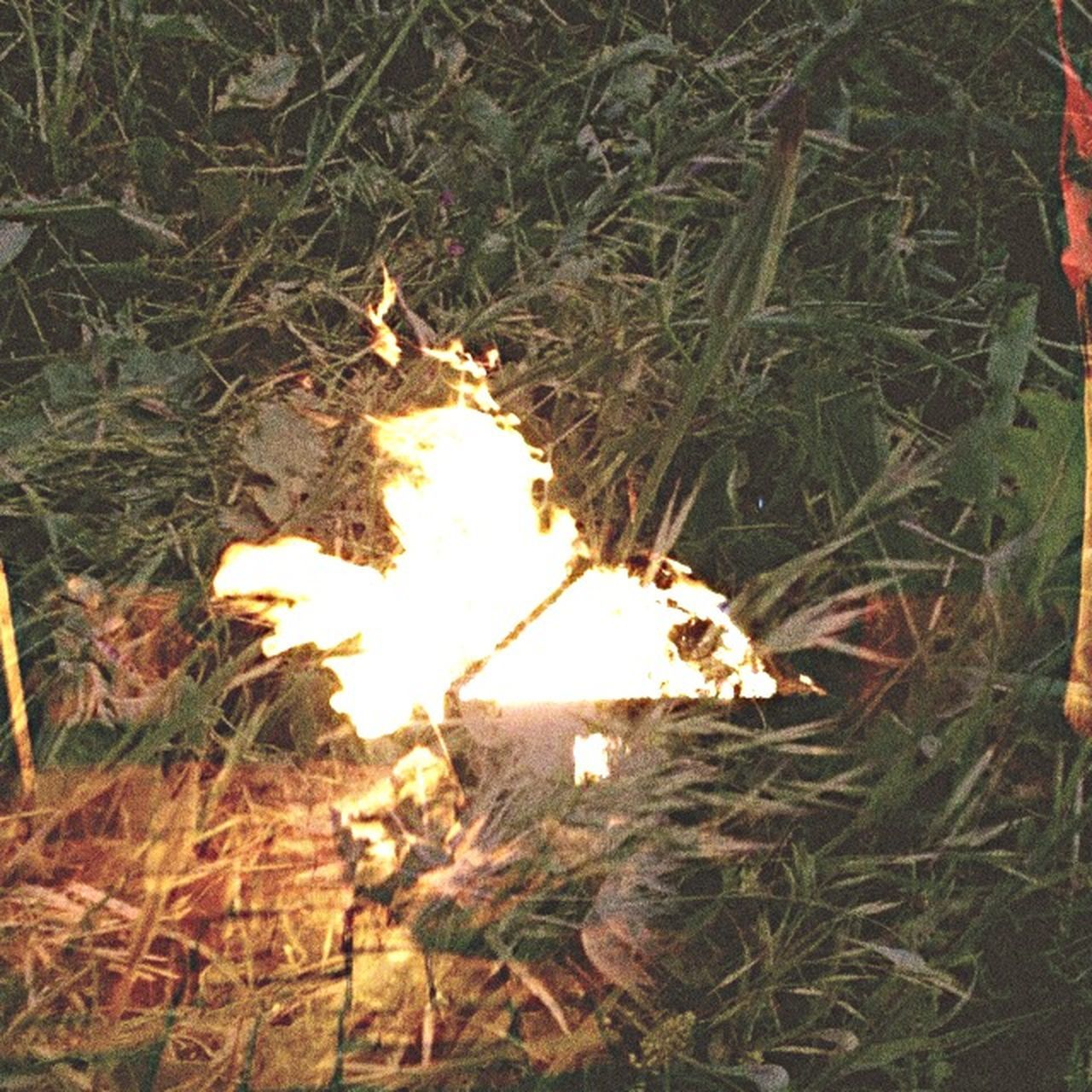 burning, flame, no people, high angle view, field, grass, outdoors, night, illuminated, nature, close-up, bonfire