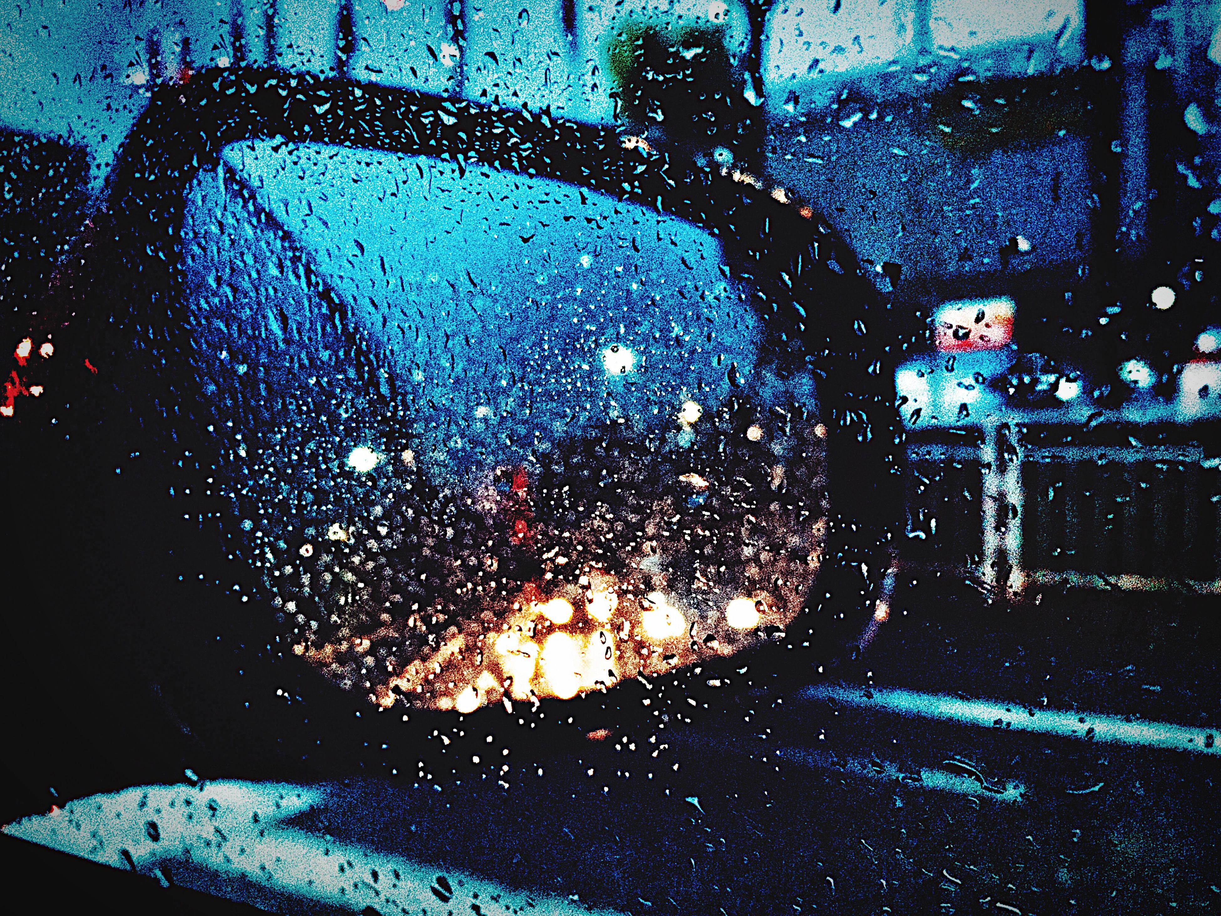 transportation, land vehicle, mode of transport, car, vehicle interior, glass - material, window, wet, transparent, drop, indoors, car interior, rain, windshield, season, water, close-up, side-view mirror, raindrop, street