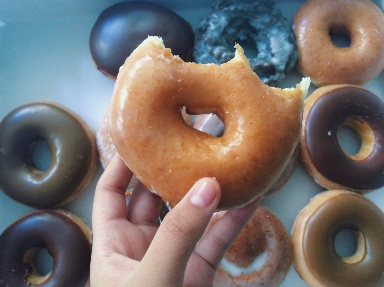 food and drink, human hand, food, freshness, indoors, holding, human body part, one person, indulgence, donut, close-up, sweet food, ready-to-eat, unhealthy eating, real people, day, people