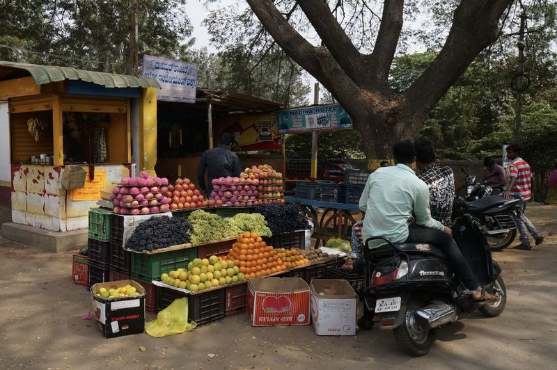 Rural India Choice Day Farmer Market Food Food And Drink For Sale Freshness Fruit Healthy Eating Large Group Of Objects Market Market Stall Men Outdoors People Real People Retail  Small Business Tree Variation Vegetable