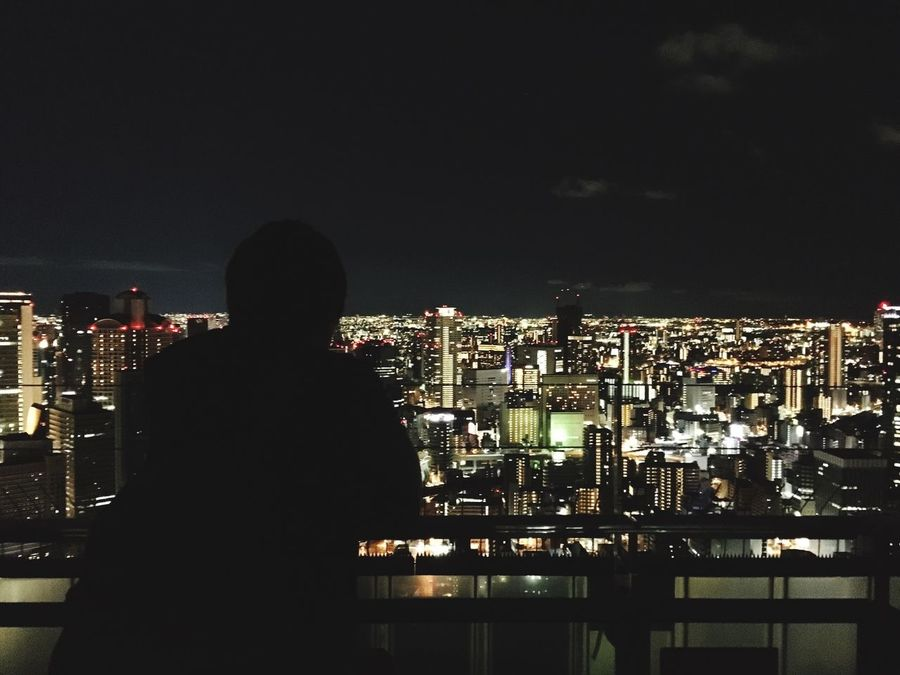 Cityscape City One Person Rear View Real People Illuminated Building Exterior Night Standing Urban Skyline Architecture Skyscraper Indoors  My Boyfriend Copple