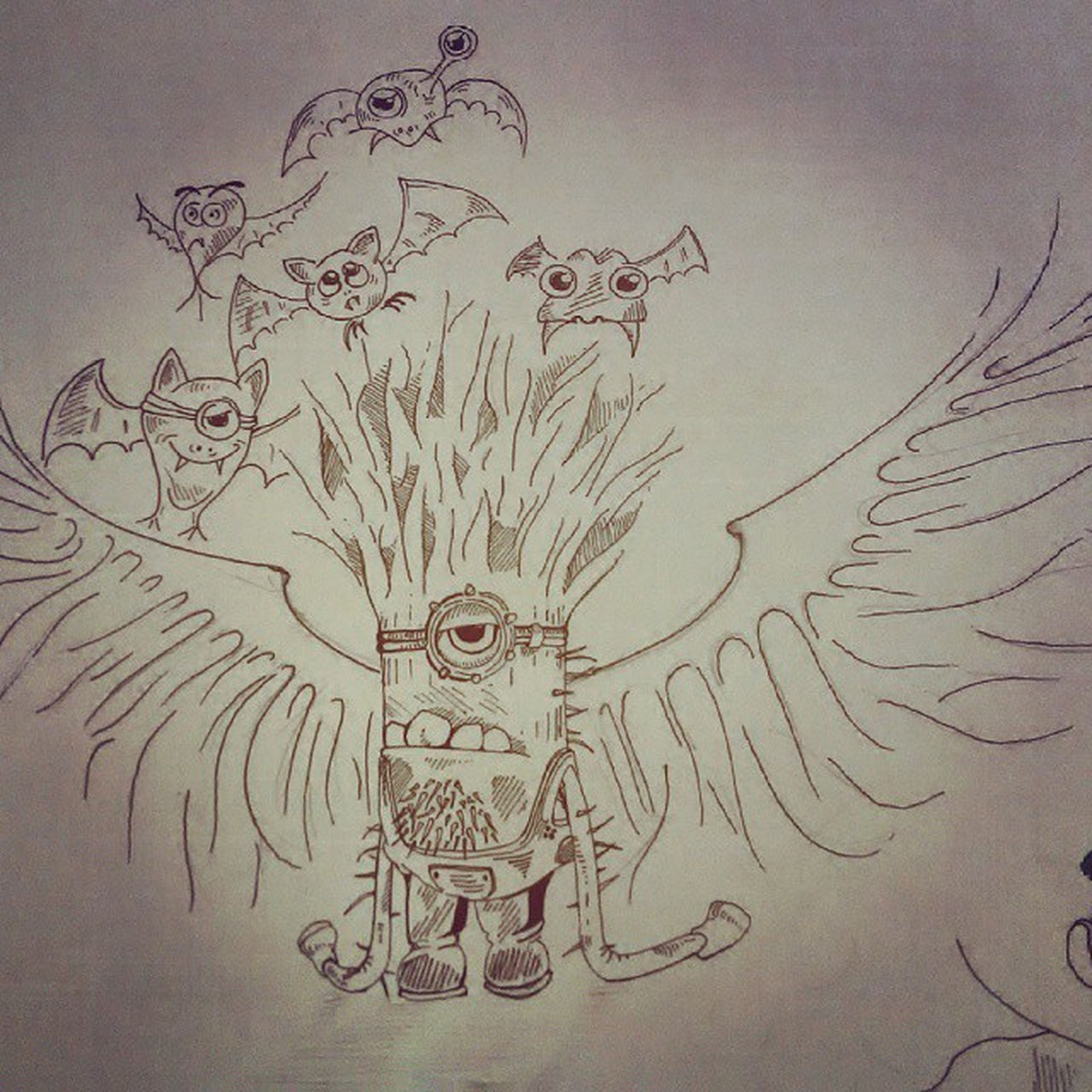 Purple Minion  Ruler BATlord Innovation BATstorming Thewingedone . Evolution  Doodle Quickdoodle