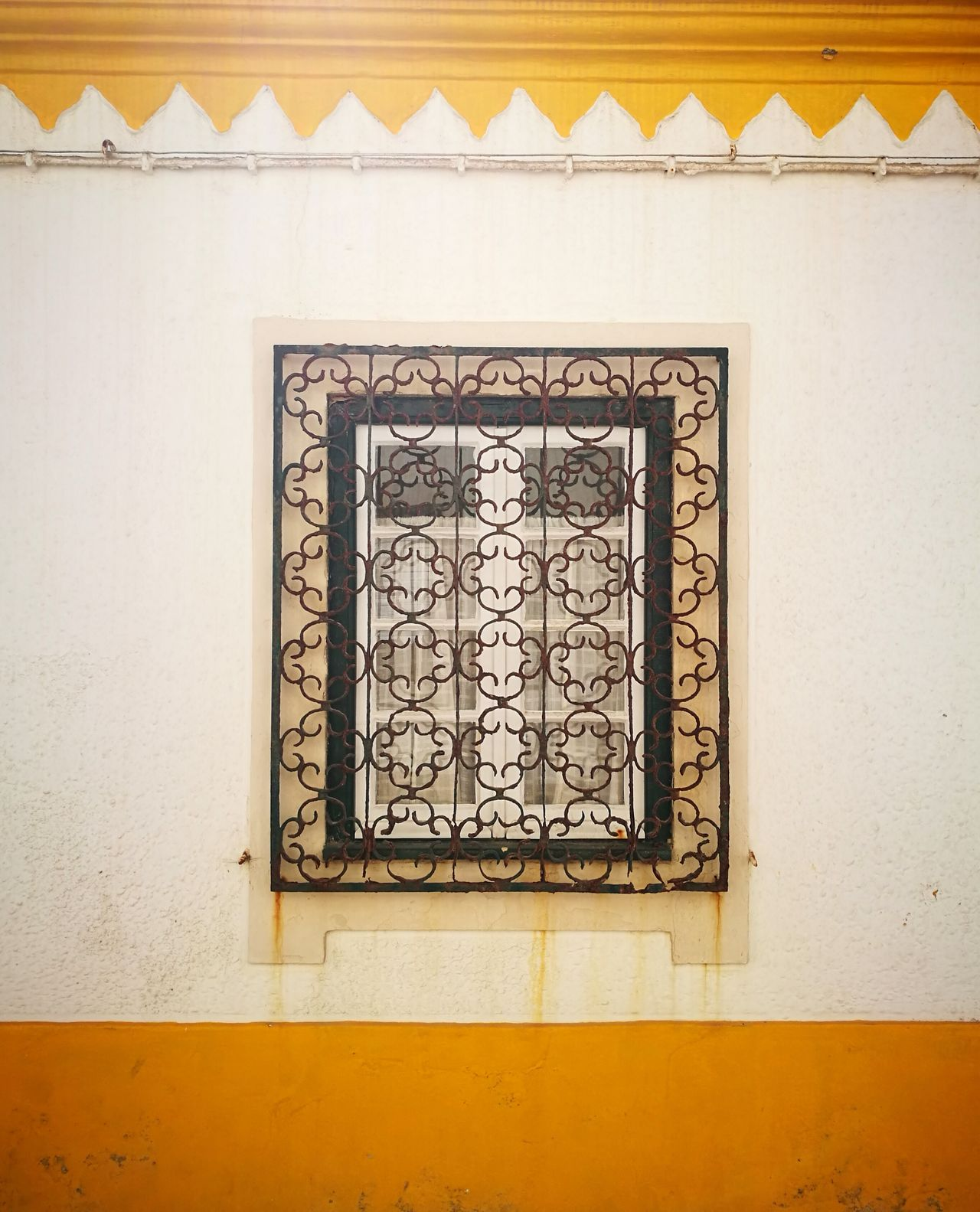 Paint The Town Yellow Ornate Design Yellow Architecture Indoors  Window No People Close-up Detail Rusty Rusty Metal Rusty Wall Urban Geometry Urban Window Pattern Huawei P9 Leica