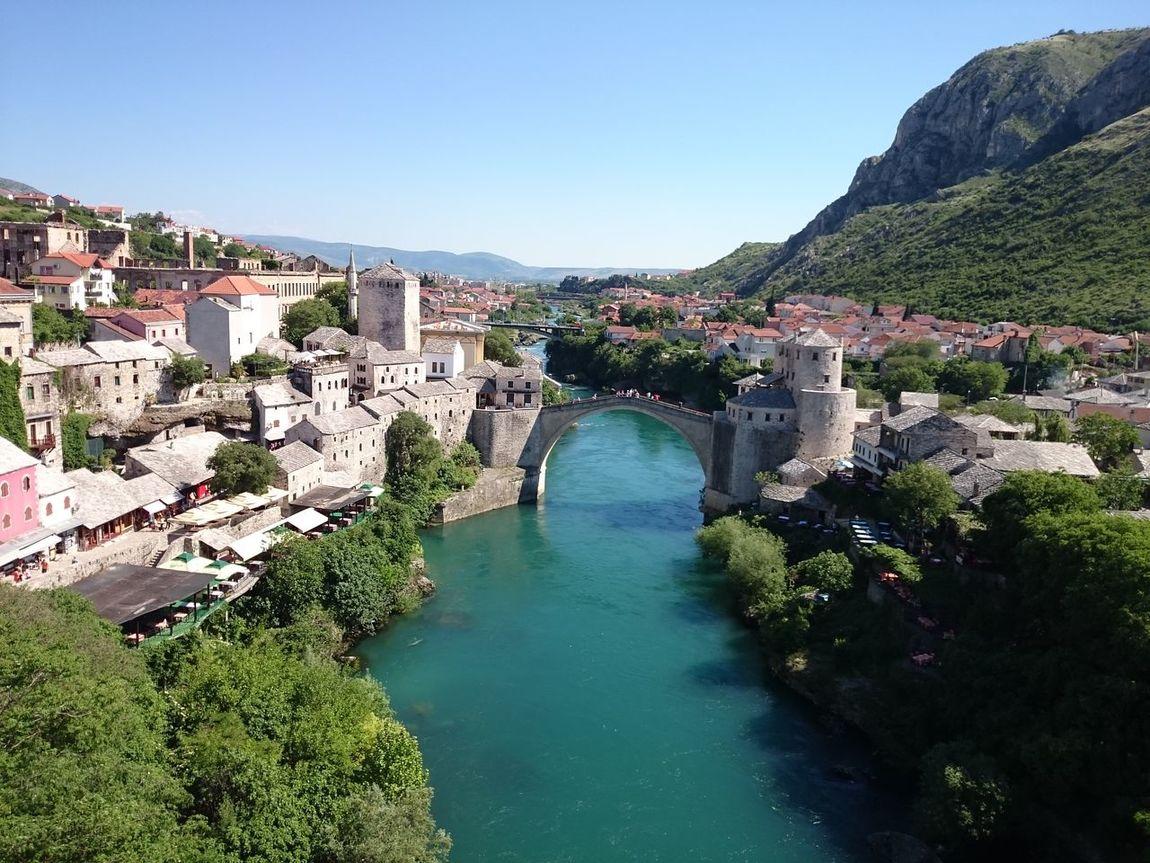 Bosnia Bosnia And Herzegovina Day Holidays Human Settlement Mostar Neretva Old City Stari Most Summer Top Perspective Water Summer Views Summerfeeling