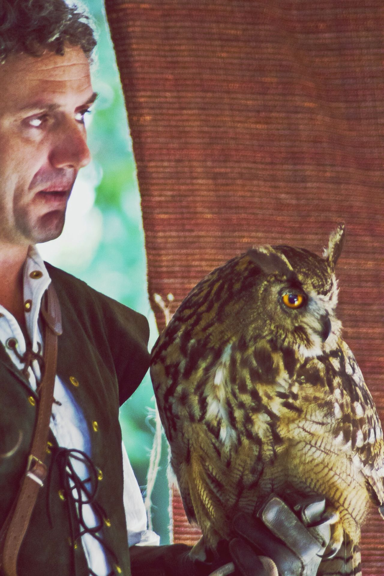 Bird Bird Trainer Canon Photography Day Eyebrows Falconry Filtered Image Glove Gloved Hand Hunter In Touch With Nature Indoors  Majestic Man And Beast Man And Nature Mysticism And Magic Medieval Medieval Clothing One Animal One Person Owl Owl Eyes People Pets Of Eyeem Real People Trainer