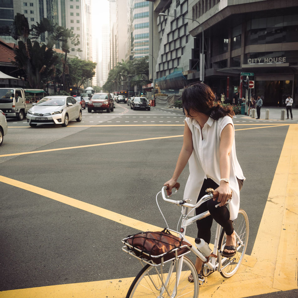 Where I'm Going Adult Adults Only Bicycle Car City City Life City Street Cycling Healthy Lifestyle Lifestyles Mode Of Transport One Person One Young Woman Only Only Women Outdoors People Real People Riding Road Rush Hour Singapore City Singapore EyeEm Meetup Street Transportation Women