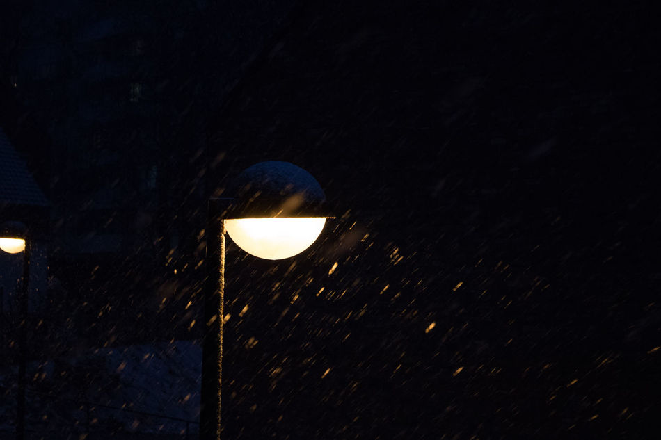 Cold Dark Illuminated Lantern Light Light Source Night No People Outdoors Snow Snowing Minimalist Architecture Welcome To Black