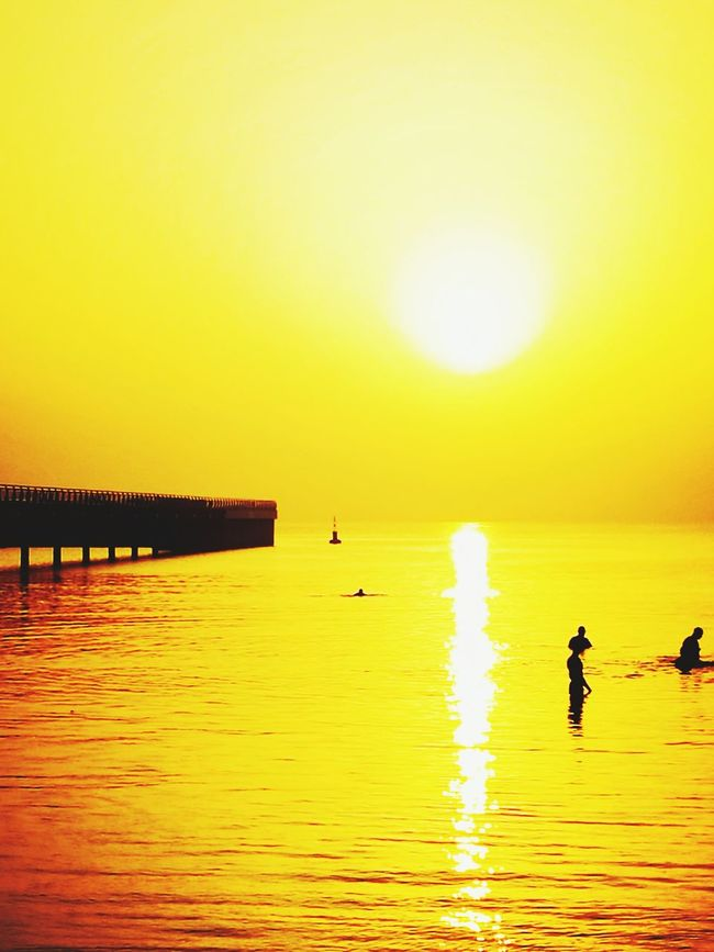 Sunrise Sea Water Reflection Silhouette