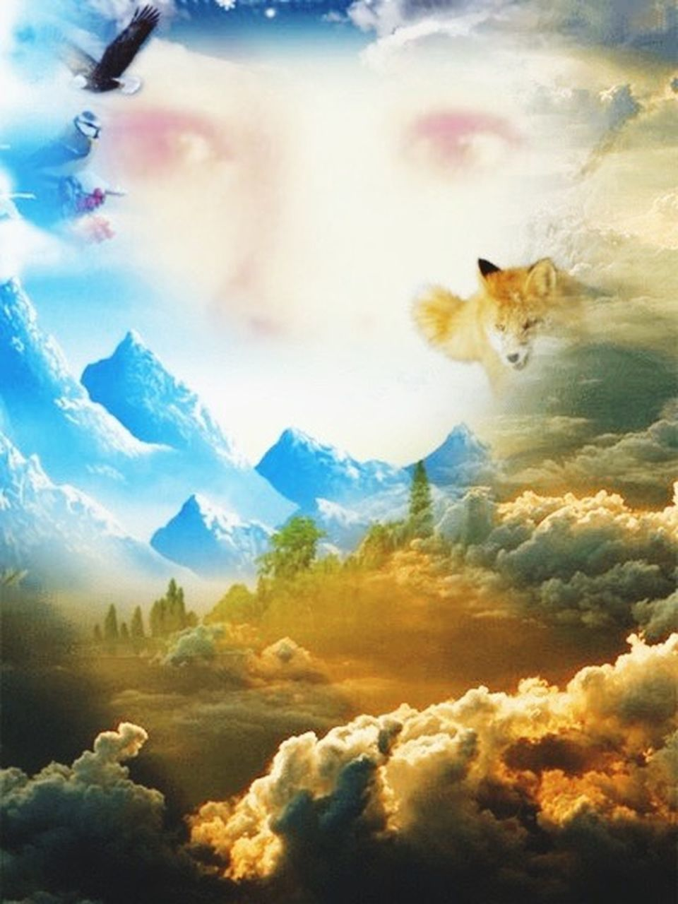 digital composite, cloud - sky, one animal, animal themes, nature, outdoors, sky, pets, blue, beauty in nature, day, no people, scenics, sunset, mountain, domestic animals, mammal
