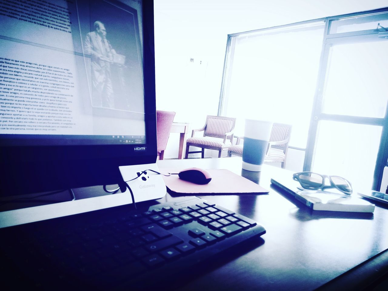 technology, indoors, computer, computer keyboard, table, computer monitor, no people, laptop, desk, window, keyboard, wireless technology, day, computer key, close-up