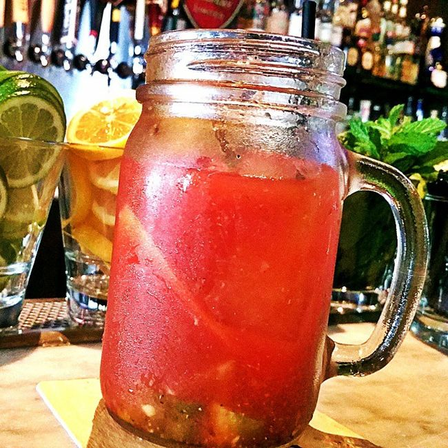 Perfect lazy Brunch Bloody Maria with Mezcal at the bar at LocalPeasant with @eyereenuh SundayFunday