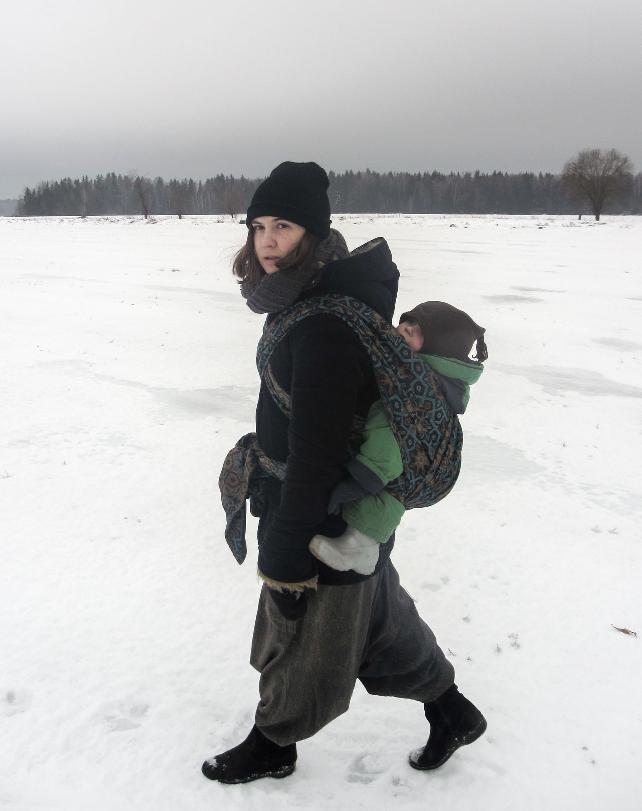 If on a winter's day... Baby Carrier Baby Sling Babywearing Beauty In Nature Bonding Childhood Cold Temperature Day Family With One Child Full Length Happiness Leisure Activity Lifestyles Looking At Camera Mother And Child Nature Outdoors Portrait Real People Snow The Portraitist - 2017 EyeEm Awards Togetherness Walking Warm Clothing Winter
