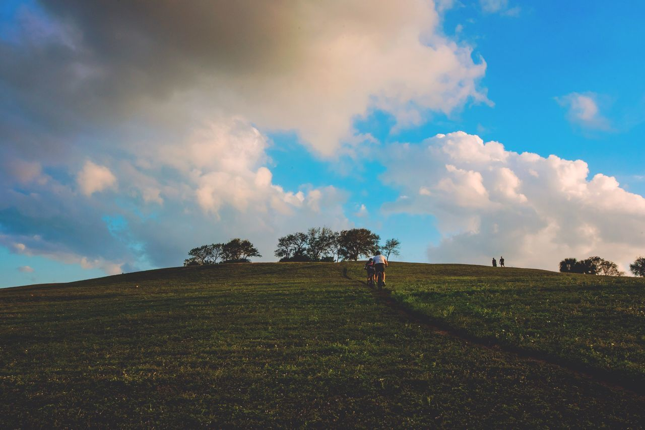 🚴🏻🚴🏼♀️ Landscape Sky Nature Tranquility Tree Tranquil Scene Field Beauty In Nature Cloud Scenics Cloud - Sky No People Growth Rural Scene Grass Outdoors Day