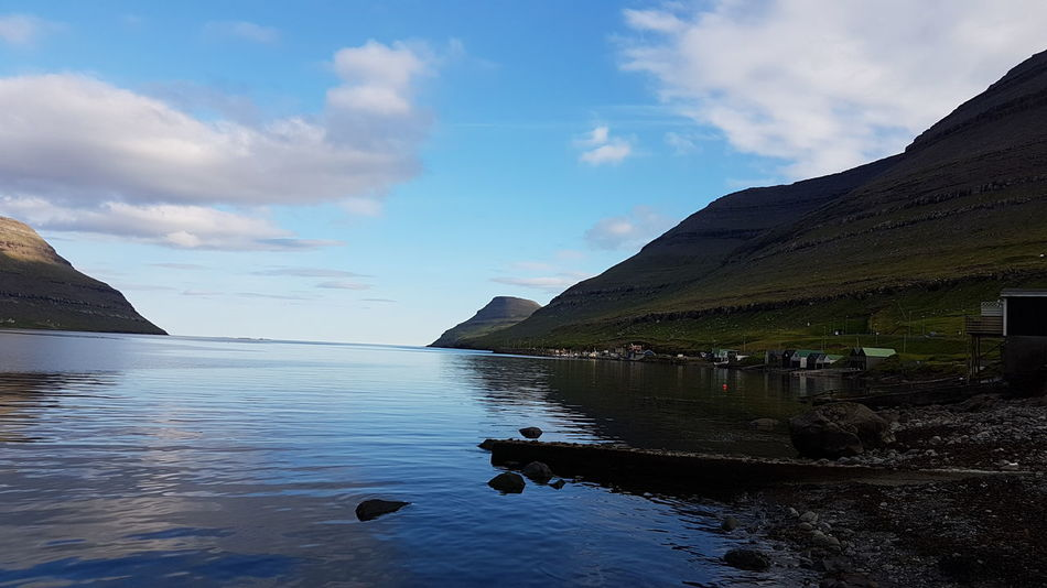 Amazing view from the docks in the city of Klaksvík Nature Natue Photography Klaksvik Faroe Islands Dock Water Sun Mountains Mountain Sea And Sky Beautiful Beautiful Nature Island Samsung Galaxy S7