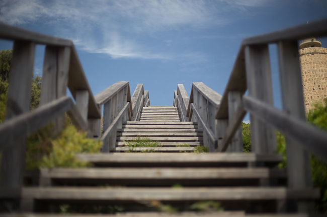 Architecture Built Structure Cloud Cloud - Sky Cloudy Day Diminishing Perspective Growth Low Angle View Nature No People Outdoors Railing Selective Focus Sky Staircase Stairs Steps The Way Forward
