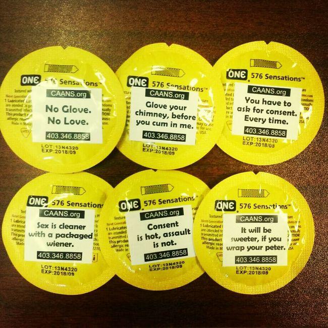 New condom labels ♡ Consent Sexual Assault