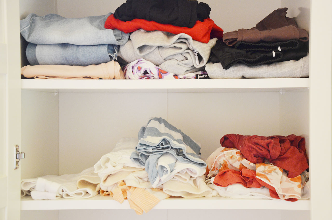 Clothes On Shelves