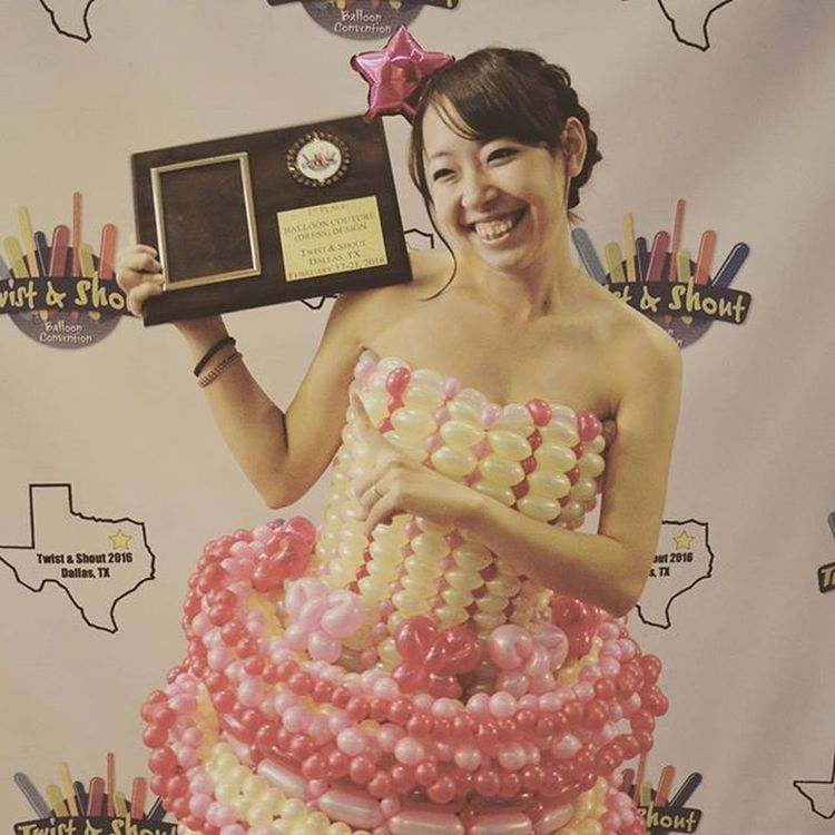 全米大会 のドレス部門 で優勝 しました! やったーーーーー!!\(^^)/♡ 大会 バルーン Balloonart Balloon TwistAndShout Balloonconvention Convention Dress 1st Champion Nozomi USA Texas TX Dallas 嬉しい Happy Balloondress 優勝 1StPlace
