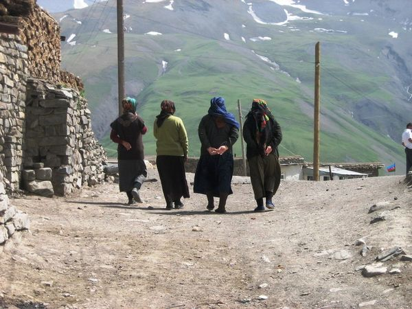 Azerbaijan Mountain Village women Outdoors
