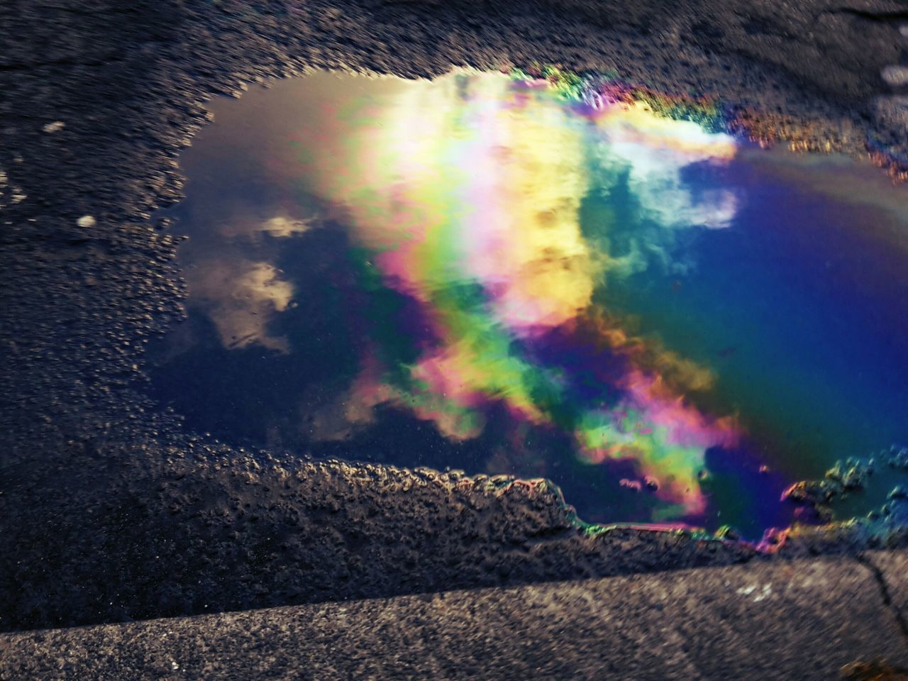 multi colored, rainbow, oil spill, outdoors, day, no people, nature, spectrum, close-up, sky