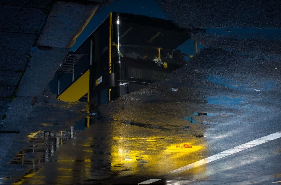 No People Outdoors Puddle Reflection Reflection_collection Road Street Transportation Water Wet Yellow