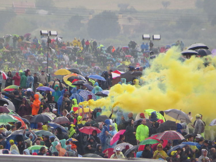 Sport Event Supporters Crowd Crowd Of People Outdoors People Rainy Day Sunday Fun Yellow Smoke