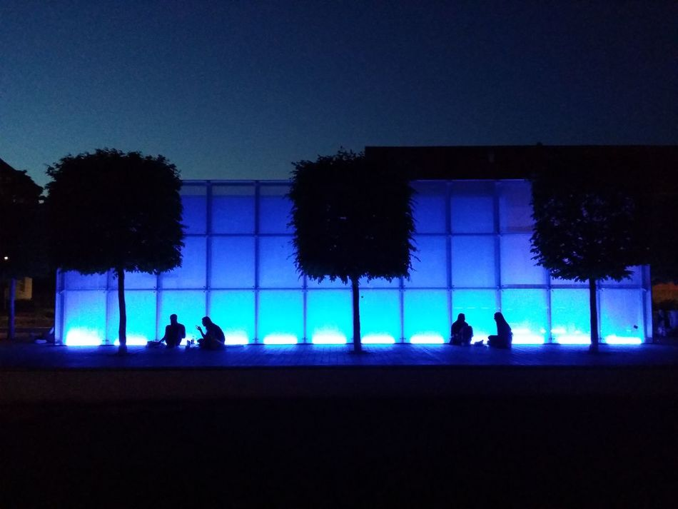 Blue Blue Light Enlightened Evening Light Wall Lightwall Nightphotography Silhouettes Sit In Sitting Outside Sitting Together Squares Summertime The Architect - 2016 EyeEm Awards The Street Photographer - 2016 EyeEm Awards Trees Young People Cities At Night Adapted To The City