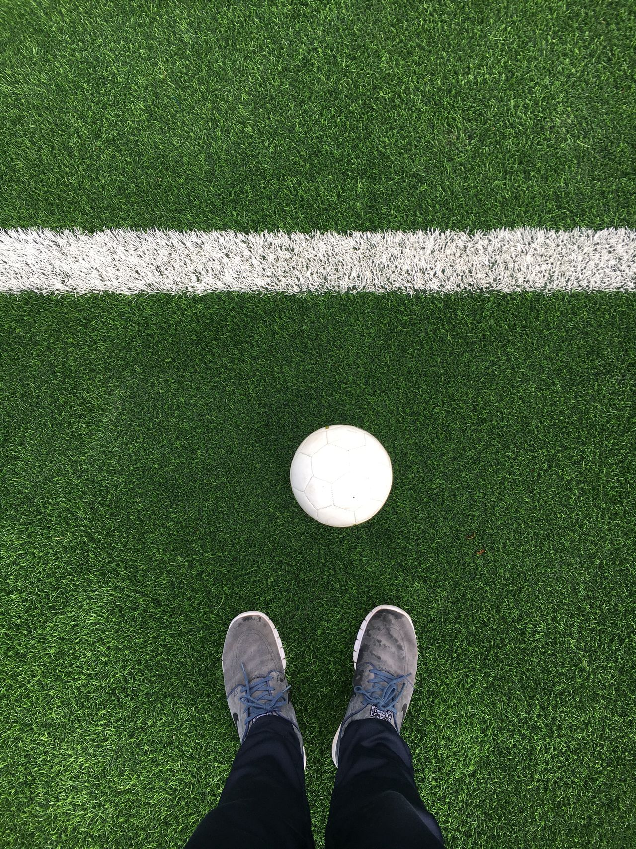 One Person Sport Human Body Part Grass Leisure Activity One Man Only Personal Perspective Standing Human Leg Low Section Green Color High Angle View Directly Above Golf Real People Men Day Outdoors People Adult Soccer Soccer Field