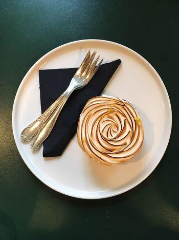 Lemon Tart Plate Fork Food Table Food And Drink Sweet Food High Angle View Tart - Dessert Cake Ready-to-eat Dessert