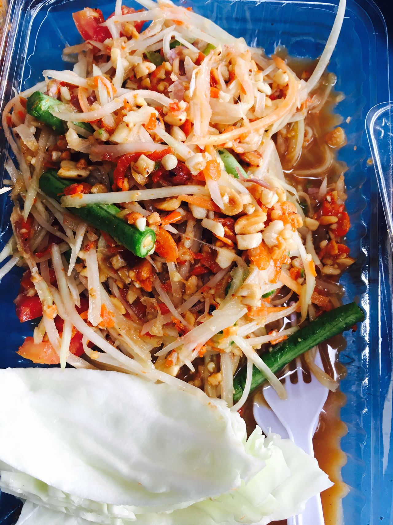 ส้มตำไทย🤤🤤🤤🤤 Green Papaya Shredded Carrot Bean Fish Sauce Sugar Lime Juice Tomato Dried Shrimps Peanuts Chilies Fresh Garlic 👍👍👍