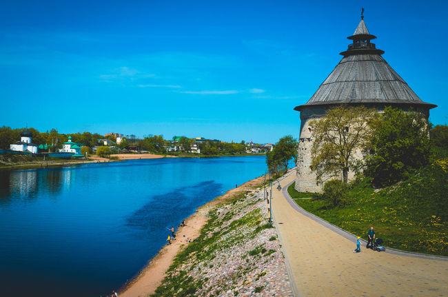 Architecture Blue Calm City Day Local Landmark Pskov Russia Scenics Sky Tower Water