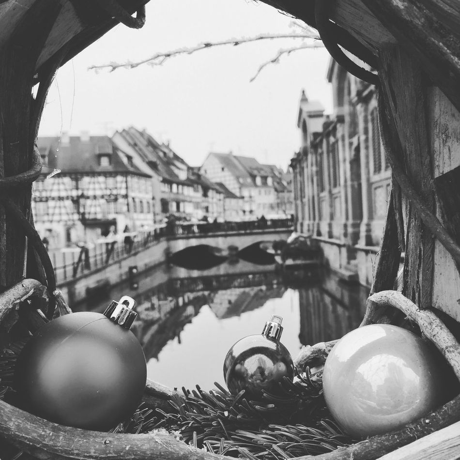 Built Structure Building Exterior Outdoors Day Sky Architecture Close-up No People Little Venice Colmar, Alsace, France Colmar River Christmas Decoration Christmastime Blackandwhite Black And White Iphone 6 IPhone Photography