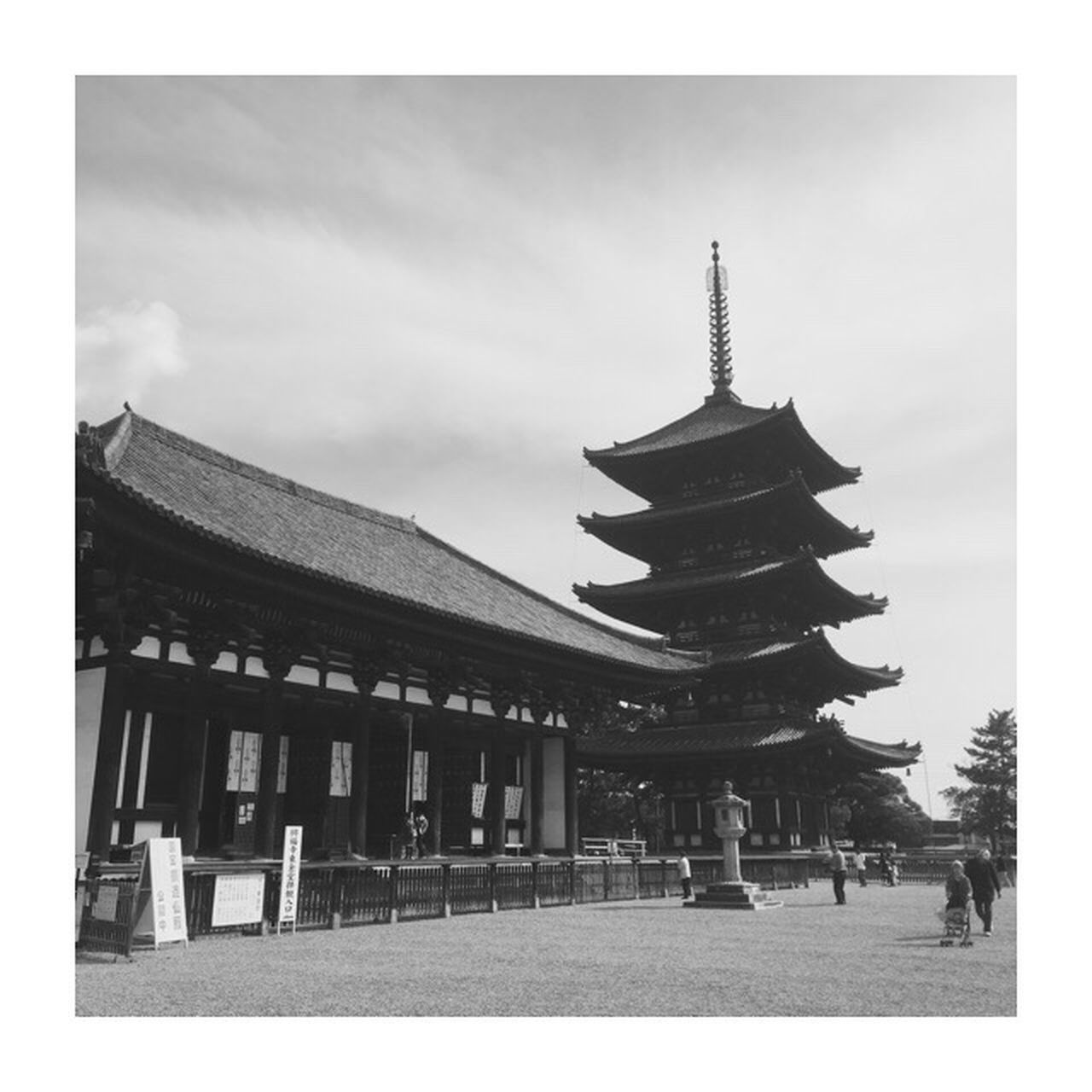 Japan Nara Five-storied Pagoda Sky History Cloud - Sky Day Architecture Travel Destinations Blackandwhite IPhoneography IPhone Old Time