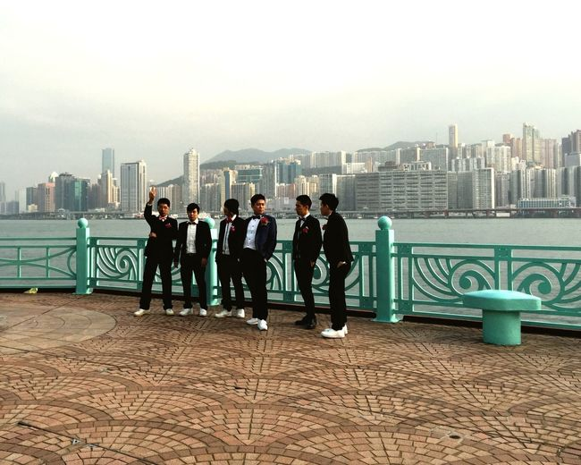 Hong Kong Wedding Best Men Groomsmen Harbour Group Photo Suits  Guys